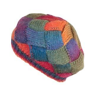 Przeplatany, kolorowy beret