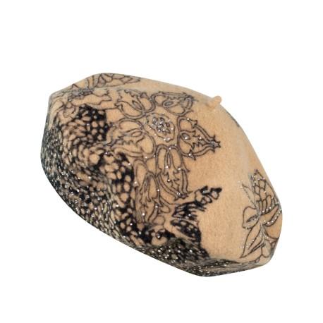 Wełniane berety Kwiatowe Wzory