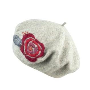 Beret Haftowana róża [HANDMADE]