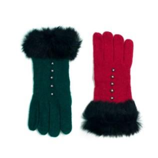 Wełniane rękawiczki plus futerko