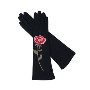 Rękawiczki długie Czerń i róża