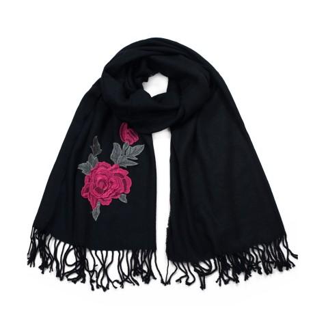 Szaliczek  z czerwoną różą w stylu kulturalnym