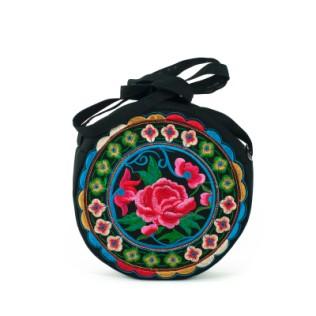 Torebka-Okrągły haft-Róża